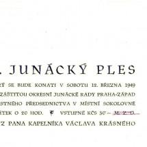 1949 - pozvánka na II. junácký ples v Roztokách (strana 2)