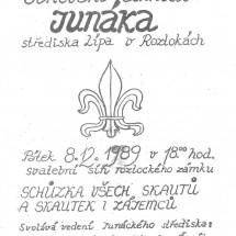 1989 - pozvánka do roztockého zámku zveřejněná v Roztockých novinách