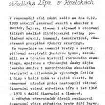 1990 - článek Jiřího Bayera – Bye-Gana, bývalého vůdce střediska (vyšel v Roztockých novinách)