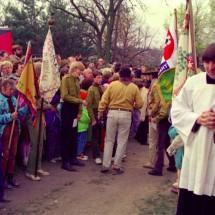 1991 - roztočtí skauti budou na Svatovojtěšské pouti na Levém Hradci za okamžik vítat Václava Havla a další polistopadové politiky